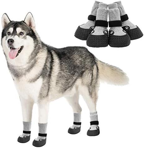 KOOLTAIL Anti Slip Dog Socks 2 Pair Waterproof Pet Shoes Traction Control Adjustable Pet Warm product image