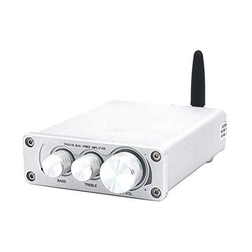 DollaTek Audio Mini TPA3116 Amplificador de Potencia de Alta fidelidad Bluetooth Estéreo Amplificador de Audio para el hogar Agudos Graves - Plateado