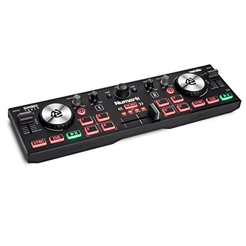 Numark DJ2GO2 Touch - Console DJ Compatta USB con 2 Deck per Serato DJ, con Mixer/Crossfader, Scheda Audio e Jog Wheel Capacitive Sensibili al Tocco