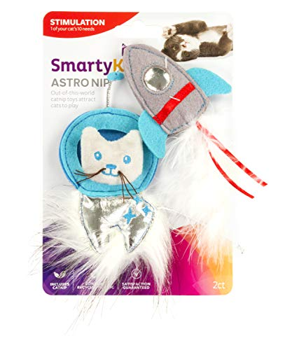 SmartyKat, Astro Nip SpaceKat & Rocket, Soft Plush Cat Toys, Catnip Filled, Pure, Potent, with Feathers and Faux Fur, Set of 2