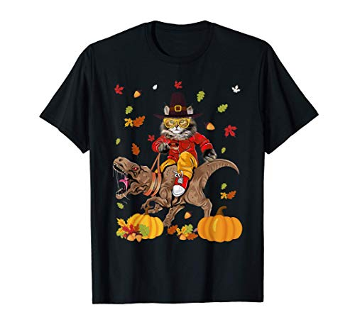 Cat Riding T rex Funny Thanksgiving Dino Cat Lovers Gifts T-Shirt