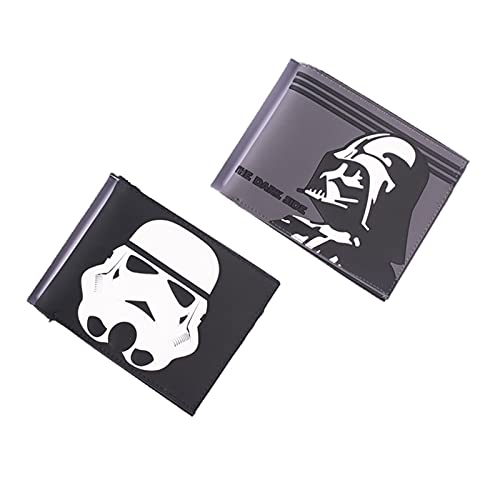 PVC Cartoon Wallet, Darth Vader & Stormtrooper Coin Purse with Function Card Slot Zipper Pouch for Birthday Movie Fans Gift (1set (2pcs))