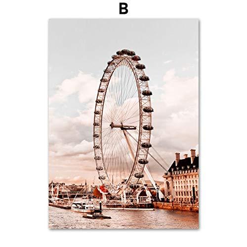 LiMengQi2 Torre de París London Eye Coliseo Cuadrado Rojo Arte de la Pared Pintura de la Lona Carteles e Impresiones nórdicos Cuadros de la Pared Decoración de la Sala de Estar (sin Marco)