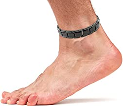 Elegant Titanium Magnetic Therapy Anklet for Men and Women Arthritis Pain Relief & Inflammation Reduction for Feet and Ankles (Black)