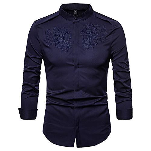 MUMU-001 Feitong mannen de herfst winter casual goud borduurwerk lange mouwen shirt top blouse