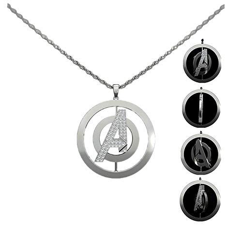 Ajpicture Avengers: Endgame - Collar de Plata con Logo Giratorio para Cosplay, Accesorio para Disfraces con Caja de Regalo