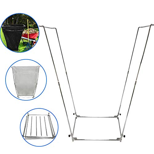 EasyGoProducts EGP-HLDR-006 EasyGo Trash Outdoor Leaf Stand – Multi-Use Garbage Holder Frame-Holds 30-45 Gallon Bags-for Camping, Leaves, Gardening and Parties