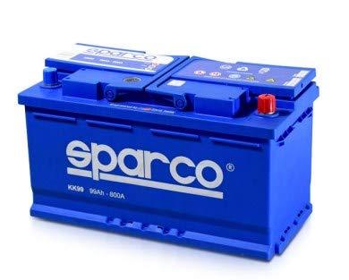 SPARCO KK99- Batería para coche, 12 Voltios 99 Amperios, tecnología de plomo y calcio, gran potencia con 800 amperios de corriente de arranque (99 Ah)