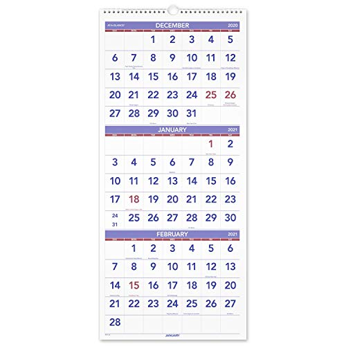 2021 Wall Calendar by AT-A-GLANCE, 12' x 27', Large, Vertical, 3-Month Reference, Wirebound...