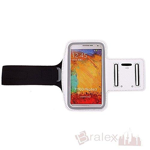 BRALEXX Sporttasche Armtasche Smartphonetasche passend für Jiayu S3 Advanced, Weiß