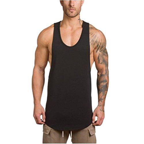 LuckyGirls Camisetas Hombre Sin Manga Verano Camisa Color Sólido Casuales Deportivas Músculo Gimnasios Polos Slim Remera (2XL, Negro)