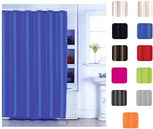 """MSV Anti-Schimmel Duschvorhang - Anti-Bakteriell, waschbar, wasserdicht, mit 12 Duschvorhangringen - Polyester, """"Blau"""" 180x200cm"""