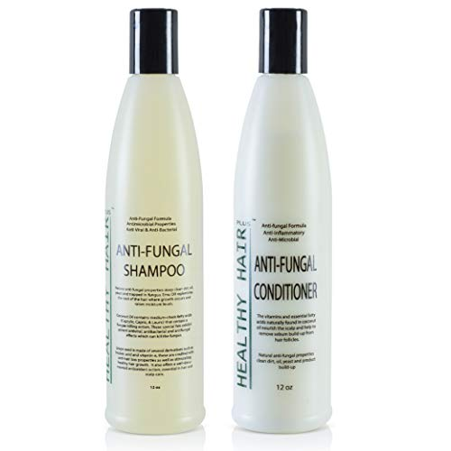 Antifungal Shampoo (12oz) & Conditioner (12oz) Combo with Emu Oil, Coconut Oil and Grapefruitseed Extract
