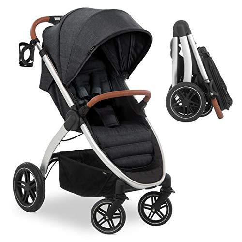 Hauck Silla de paseo bebe UpTown con respaldo reclinable y manillar regulable en altura - Sillita de paseo ligera y compacta, plegado con una mano y portavasos, hasta 25 kg - negro