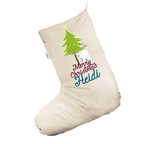 Orso polare dell' albero di Natale personalizzata Jumbo Natural calza di Natale sacchetto regalo