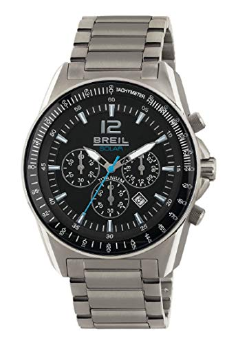 Armbanduhr BREIL Mann Titanium quadrante schwarz e uhrarmband in Titanium, Werk Chrono SOLAR-Uhr