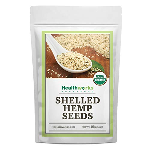 Healthworks Shelled Hemp Seeds Organic 16 Ounces / 1 Pound | Premium amp AllNatural | Canadian or European Sourced | Contains Omega 3 amp 6 Fiber and Protein