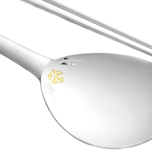 Spoon and chopsticks Set Korean Style 99% Pure Silver Gold Enamelling For Adult SG786K