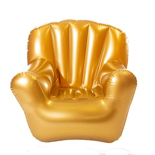 Air Candy Inflatable Arm Chair in Metallic Gold - Extra Comfortable, Strong, Whimsical, and Easy to use.