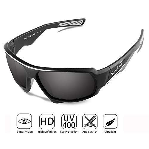 BangLong Polarisierte Sportbrille Sonnenbrille Fahrradbrille für Herren Damen mit UV400 Schutz für Autofahre (Black)