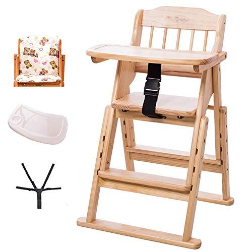 Chaises Hautes MYL Pliante en Bois Et Tout-Petits À Manger Chaise - avec Coussin Et 5 Points Harnais, Amovible en Plastique Plateau, 6 Mois Jusqu'à 220lbs (Color : Wood Color)