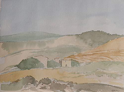 Desconocido IoArte: Paolo Gheri, Paisaje en Las cretas senesas, Pintado 36 x 26 cm, Pieza única