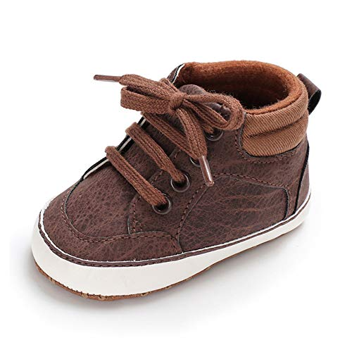 RVROVIC Baby Boys Girls Anti-Slip Sneakers Soft Ankle Boots Toddler First Walkers Newborn Crib Shoes(12-18 Months Toddler, 2-Brown)