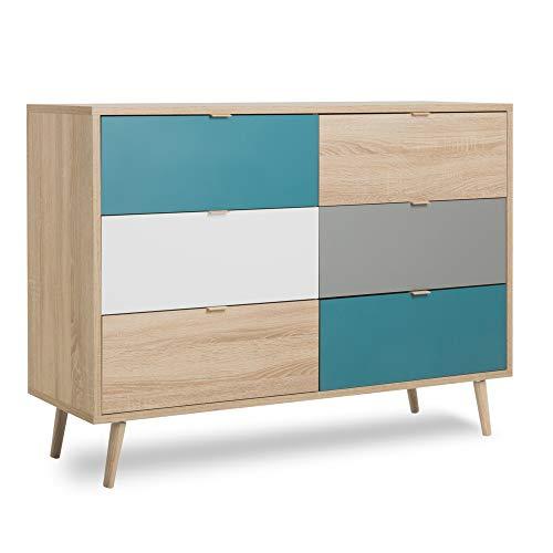 Newfurn Kommode Sonoma Eiche Sideboard Modern - 120x87x40 cm (BxHxT) - Highboard Anrichte Skandinavisches Design - [Jona.Two] Wohnzimmer Schlafzimmer Flur Esszimmer