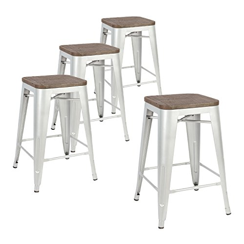 LCH 24 Inch Metal Industrial Patio Bar Stools, Set of 4...
