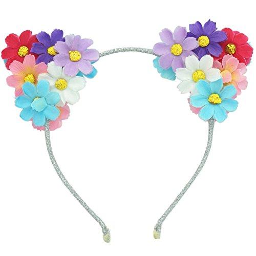 Frcolor Bandeau d'oreille de chat, LED Daisy fleurs chat oreilles d'animaux bandeau rougeoyant bandeau pour les femmes filles