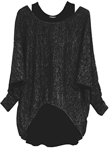Emma & Giovanni - Damen Oversize Oberteile Tshirt/Pullover (2 Stück) / Made In Italy, S-M,  Schwarz