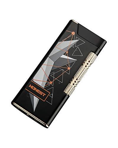 KOOWLUK - Encendedores recargables - Mechero de metal - Encendedor de metal - Potencia de fuego fuerte • Resistente al viento•Viene con un punzón de cigarros(Nota: el gas no está incluido)(NegroB)