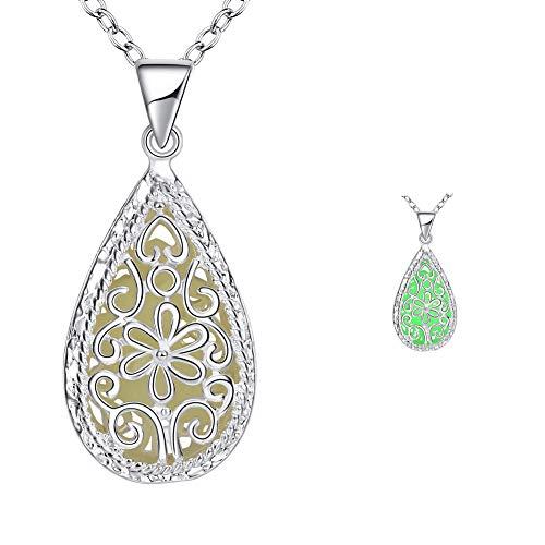 s.bloomy Hohle Halskette, grün leuchtende Retro Muster Wassertropfen Anhänger Halskette Halloween Damen/Herren/Kinder Schmuck