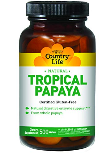 Country Life Tropical Papaya Digestive Enzymes Supports Absorption of Nutrients - Made from Whole Papaya - Vegan, Kosher, Gluten-Free - No Artificial Flavors or Sweeteners - 500 Chewable Wafers