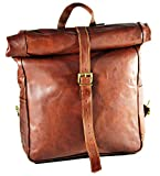 Urban dezire Vintage Leather Backpack School College Book bag Laptop Backpack Brown