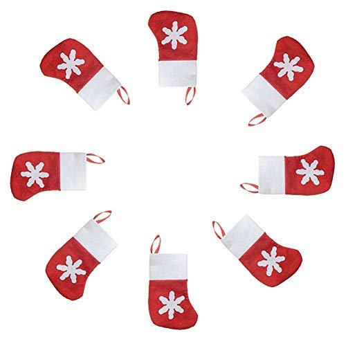 ASOSMOS 12pcs Weihnachtsmann Socken Geschirr Taschenhalter Schneeflocke Candy Pouch Weihnachtsdekoration