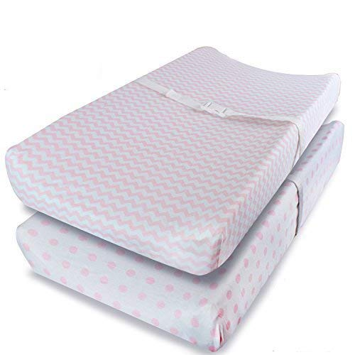 Price comparison product image Ziggy Baby Changing Pad Cover,  Cradle Bassinet Sheets Jersey Cotton (2 Pack) (Pink,  White)