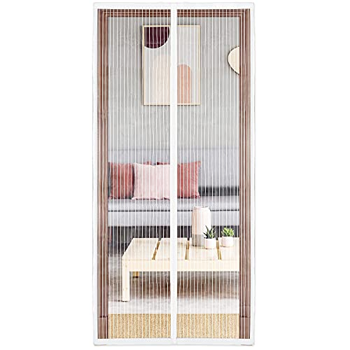 """innotree Upgraded Magnetic Screen Door with 36 Magnets Heavy Duty Mesh Curtain, Fits Doors Up to 38""""x82"""", Dogs Pets Friendly Door Screen, White"""