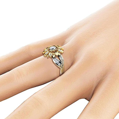 Pocciol Ring Exquisite Women's Two Tone Silver Floral Ring Round Diamond Flower Jewely