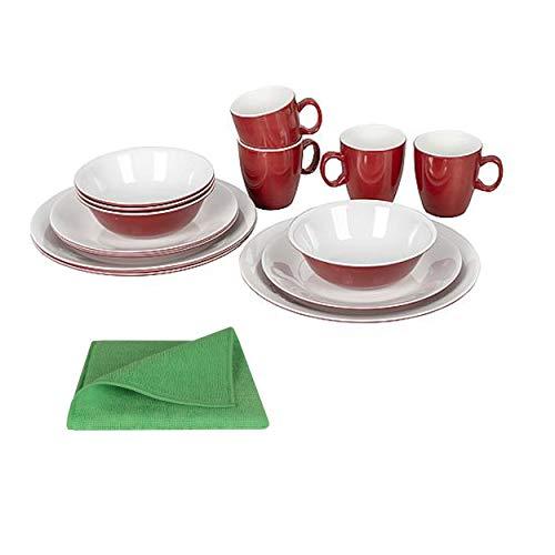 Moritz Vajilla de melamina para 4 personas, 16 piezas + 1 paño de microfibra, color verde, vajilla de camping vajilla de 2 colores rojo/blanco