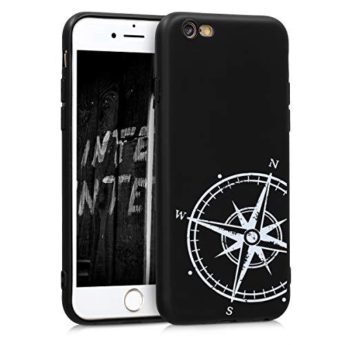 kwmobile Cover Compatibile con Apple iPhone 6 / 6S - Custodia in Silicone TPU - Cover Protettiva Soft Case - Bussola Legno Bianco/Nero