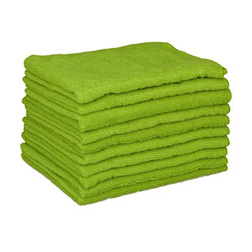Relaxdays, grün Mikrofasertücher 10er Set, 40x30 cm, saugfähiges Microfasertuch, Allzweckreinigung, waschbar, weich, Standard