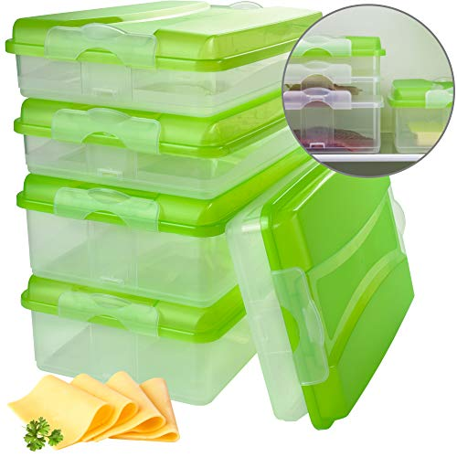 Hausfelder Aufschnittbox Set stapelbar, BPA-freie Kühlschrank Organizer Frischhaltedosen aus Kunststoff mit Deckel (5 Aufschnittboxen: 3X flach, 2X hoch)