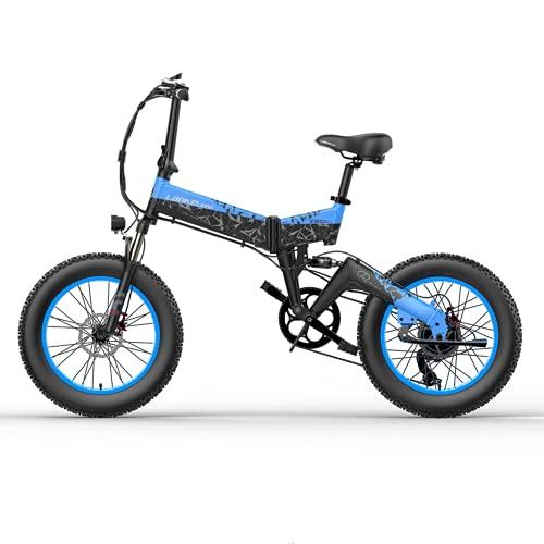 LANKELEISI Adult Electric Bike 48v 14ah 1000W X3000 Almighty Electric Bike, 20 * 4.0 Fat Tire Electric Bike Mountain Bike Folding Bike Snowmobile (Blue, Add spare battery)