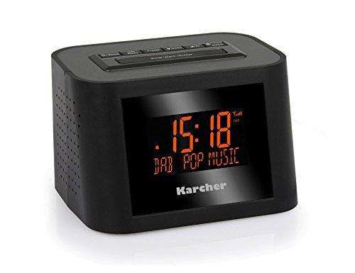 Karcher DAB 2420 Stereo-Radiowecker (DAB+, FM-PLL mit RDS und Senderspeicher, dimmbares Display, Dual-Alarm, Wochenend-/Snooze-Funktion, Sleep-Timer) schwarz