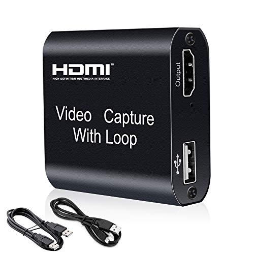 HDMI Videoaufnahmekarte mit Loop Out, 4K HD 1080P 60FPS USB Video Capture Karte für Live-Übertragung, Broadcasting, Videoaufnahme für Windows, Switch, PS3/4, Xbox One