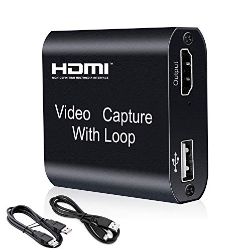 Scheda di Acquisizione Video HDMI con Uscita Loop, Capture Card USB 4K HD 1080P per Streaming dal Vivo, Registrazione Video per Giochi, Streaming Live, Videoconferenza, Switch, PS3 / 4, Xbox One
