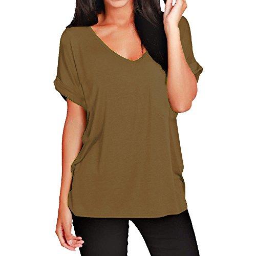 Damen-T-Shirt, lockere Passform, V-Ausschnitt, kurzärmelig, Top, 36-56 Gr. 42/44, mokka