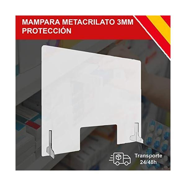 HORO.ES Mampara de Protecci/ón Metacrilato Transparante 3MM Grosor con Soporte 80 x 60CM