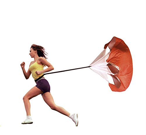 Resistance Running Parachute by Maxzola - Speed Training Chute 56inch Adjustable Speed Training Equipment Running Parachute (Red)